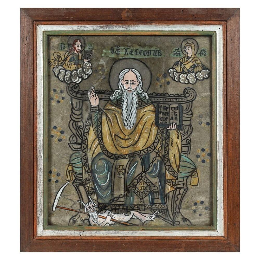 Icoană pe glajă, Sfântul Haralambie pe tron, legând ciuma, ramă pictată, atelier transilvănean, prima jumătate a sec. XIX, piesă rară, provine din colecția familiei ieșene Leon Sculy Logotheti