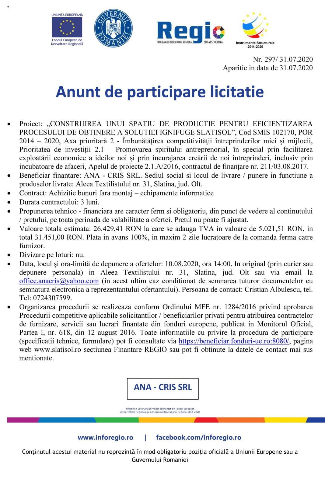 ANUNT Participare ziar ANA CRIS SRL
