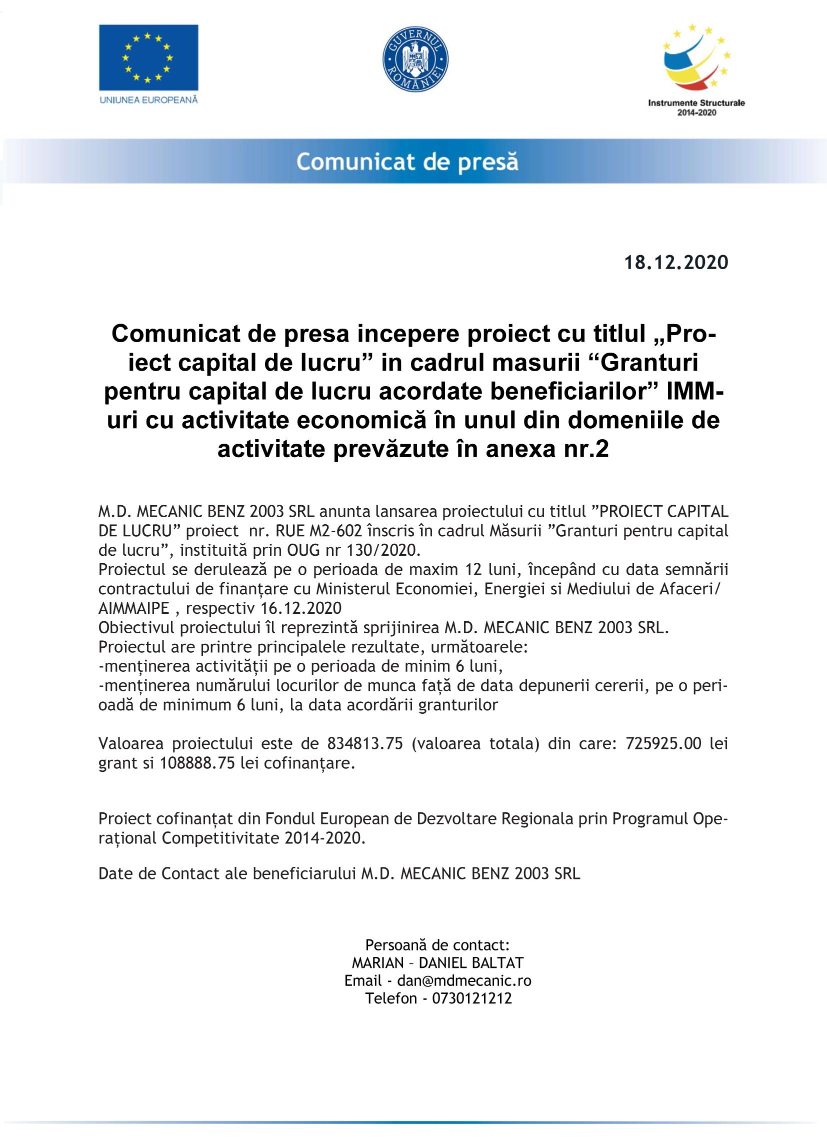 MODEL-Comunicat_de_Presa_benef-finali---INCEPERE_MD-Mecanic-Benz---2003-SRL