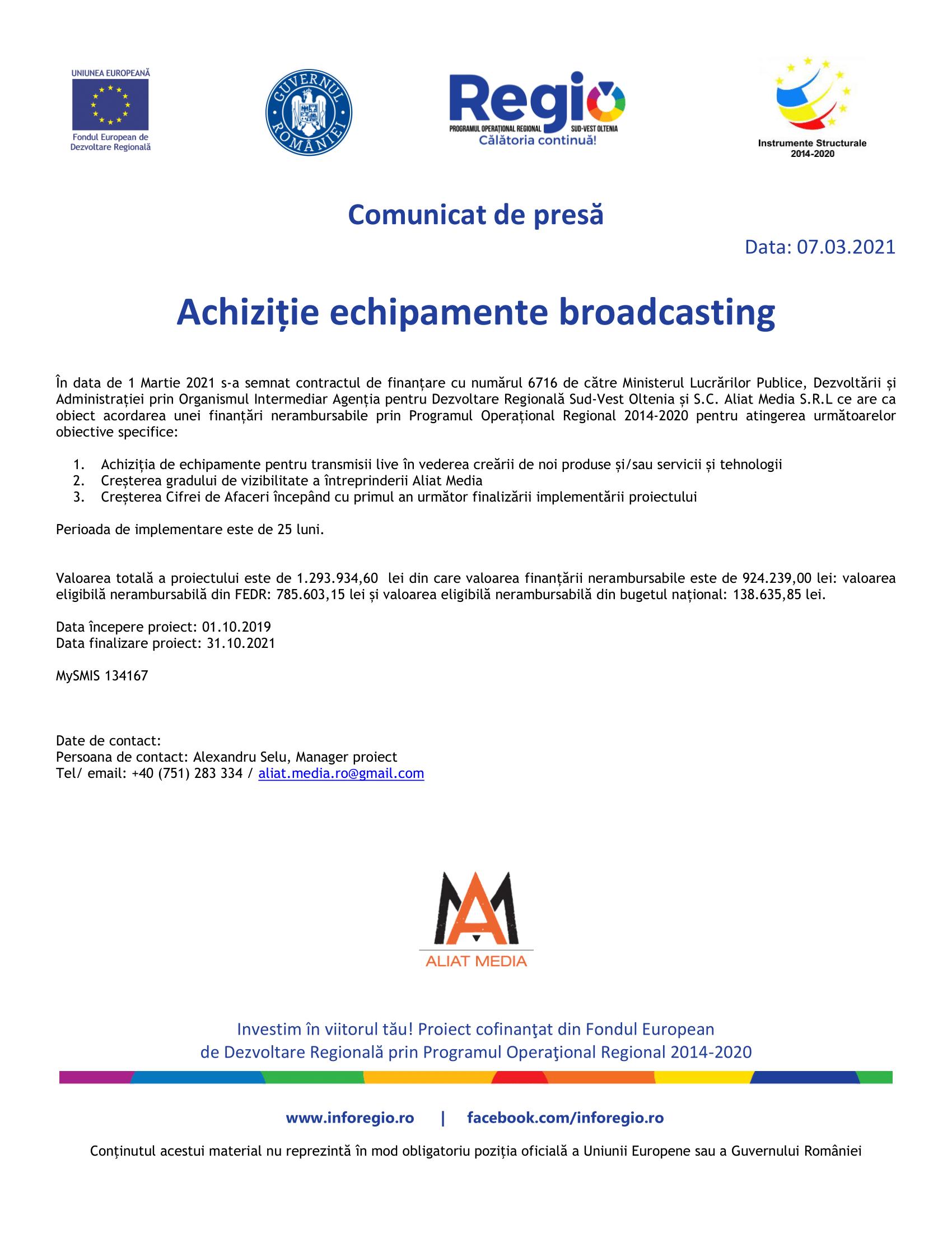 1. Comunicat de presa lansare proiect_Aliat Media SRL_SMIS 134167 7 martie-1