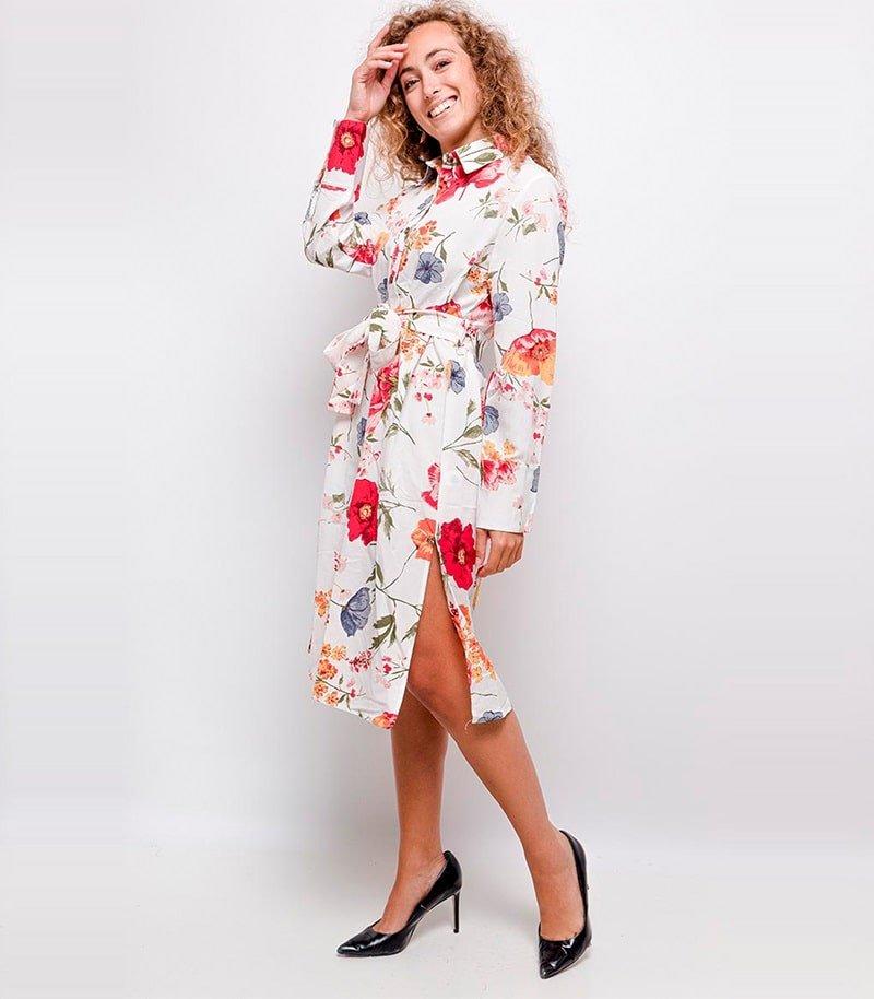 rochie-tip-camasa-alba-cu-imprimeu-floral
