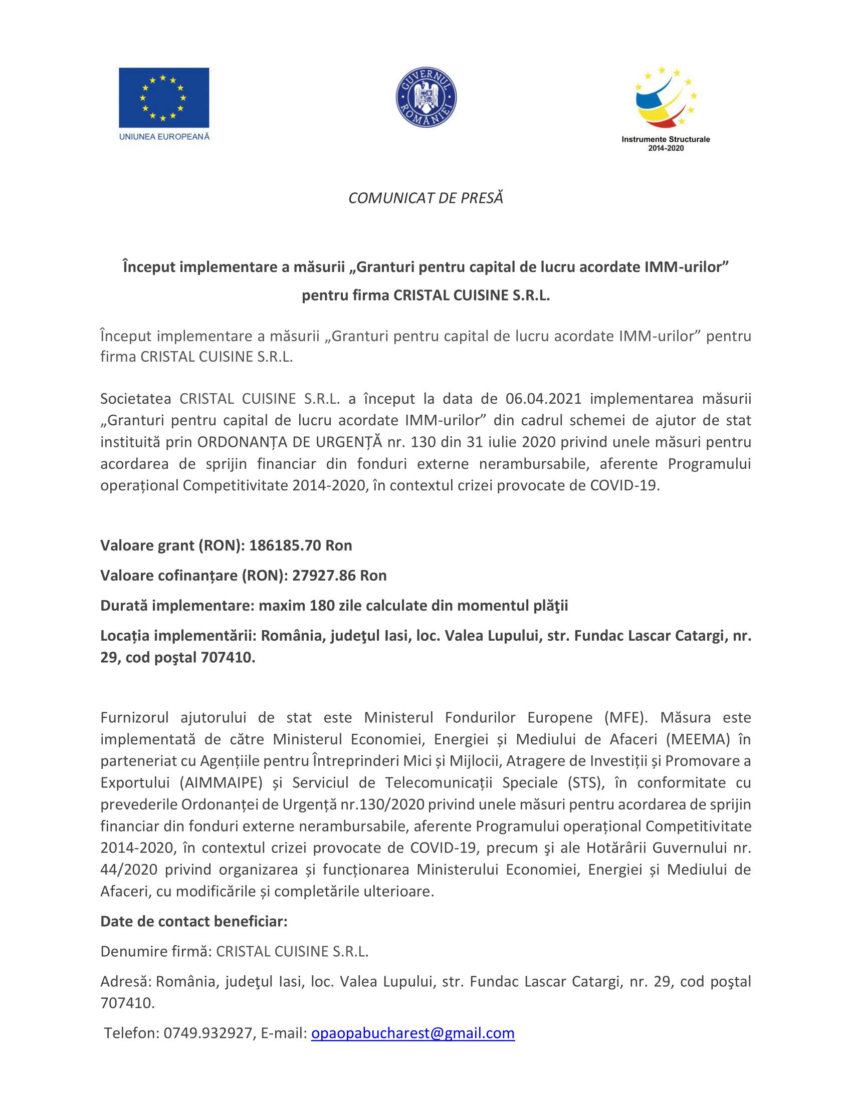 Anunt Fonduri Europene M2 - CRISTAL CUISINE-1