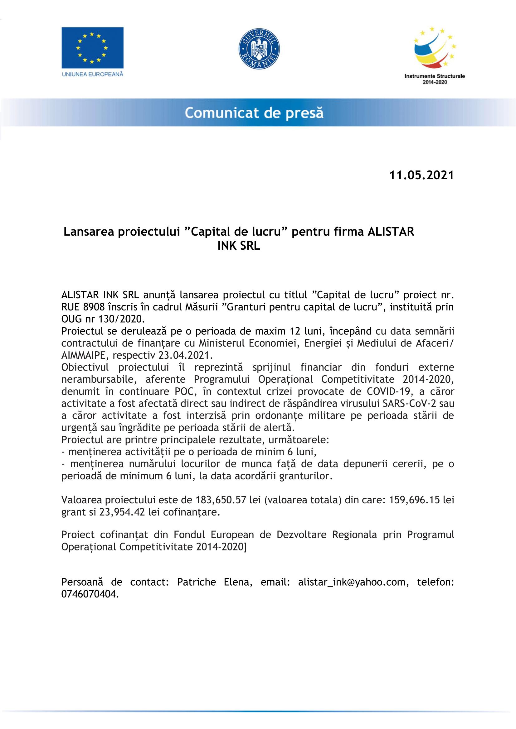 Comunicat de presa ALISTAR INK SRL-1