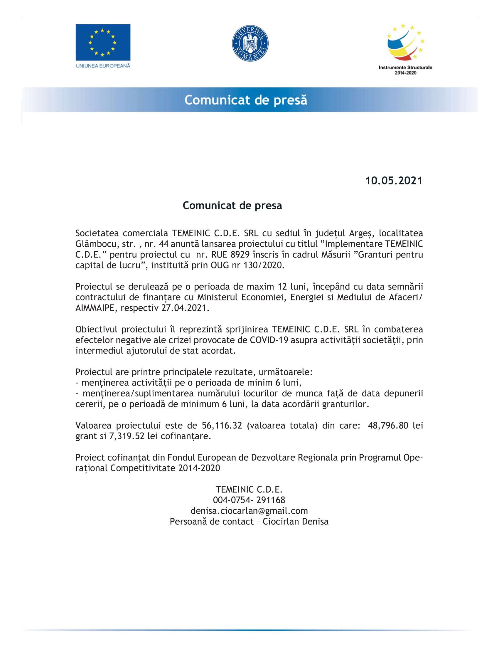 Comunicat de presa TEMEINIC CDE-1