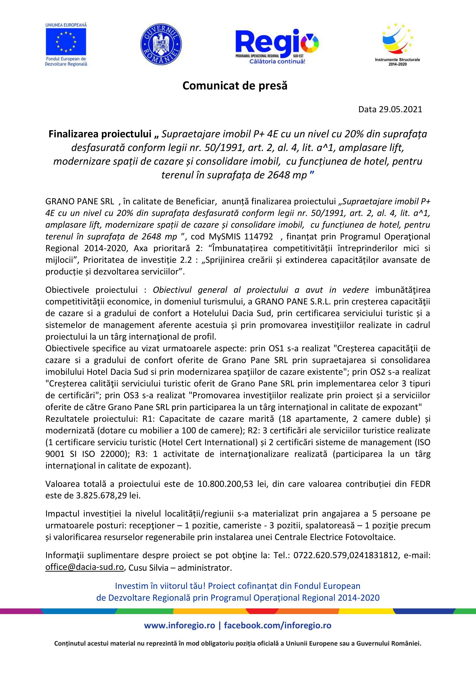 GRANO PANE SRL Comunicat de presa finalizare proiect.doc 28.05.2021-1