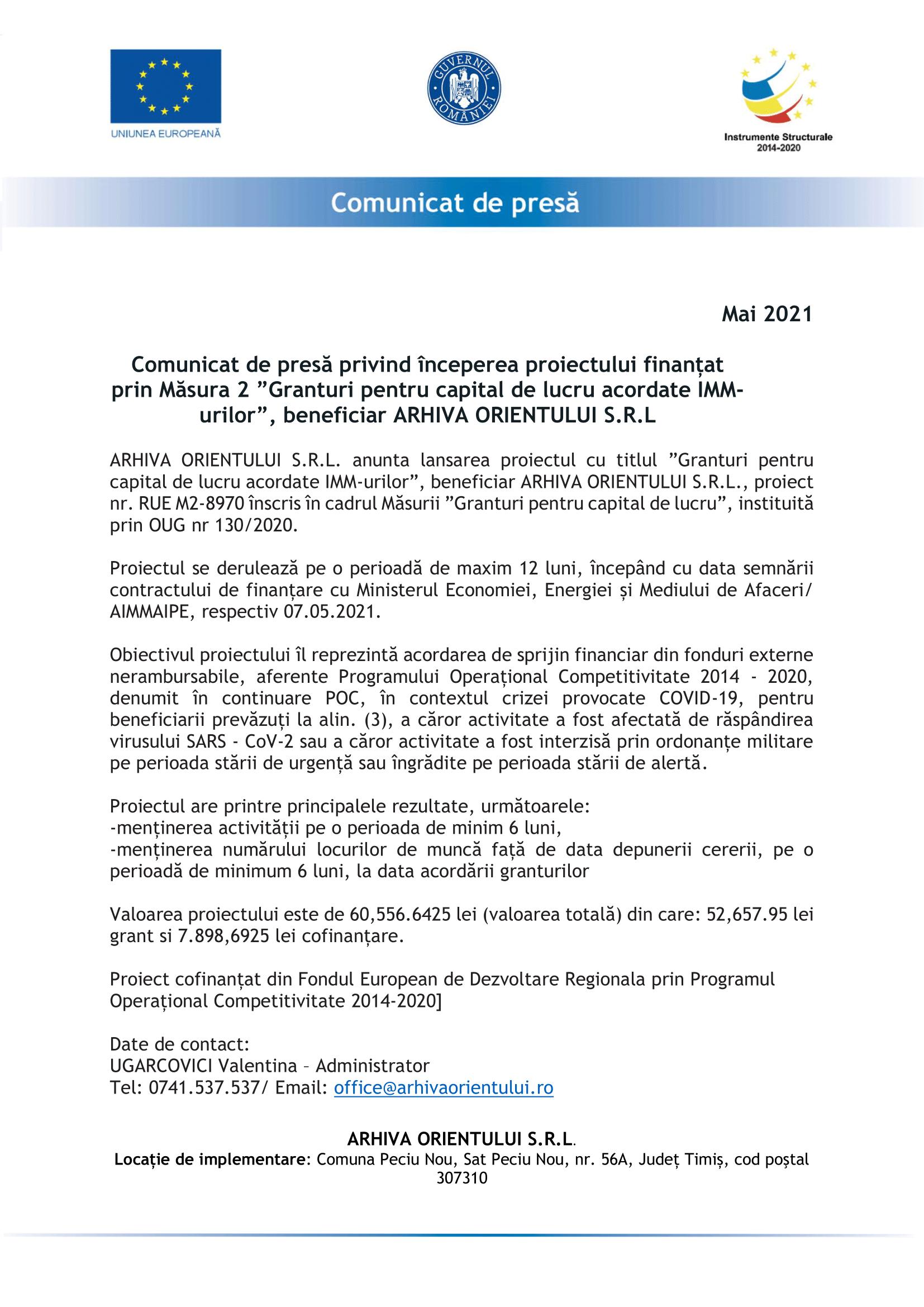 comunicat de presa - ARHIVA ORIENTULUI SRL