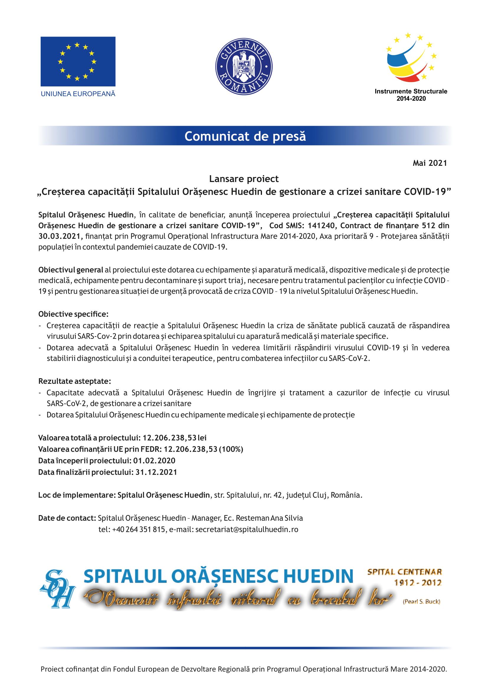 comunicat de presa spital huedin-1