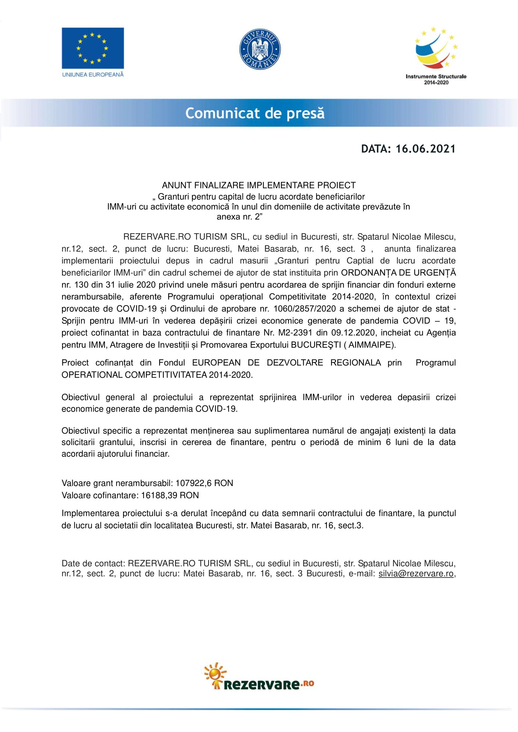 Comunicat de Presa finalizare proiect REZERVARE.RO TURISM-1