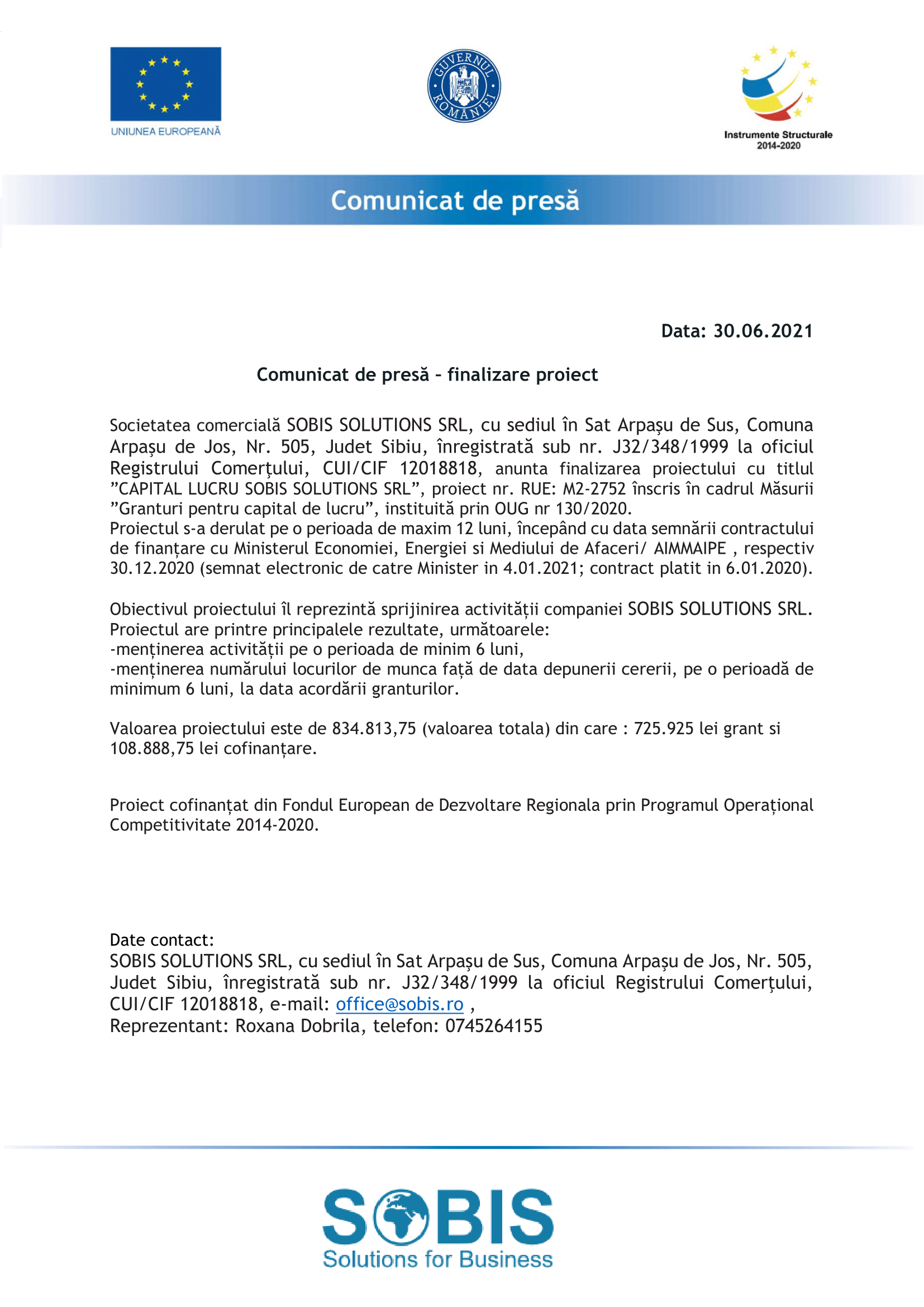 Comunicat de Presa - finalizare proiect SOBIS-1