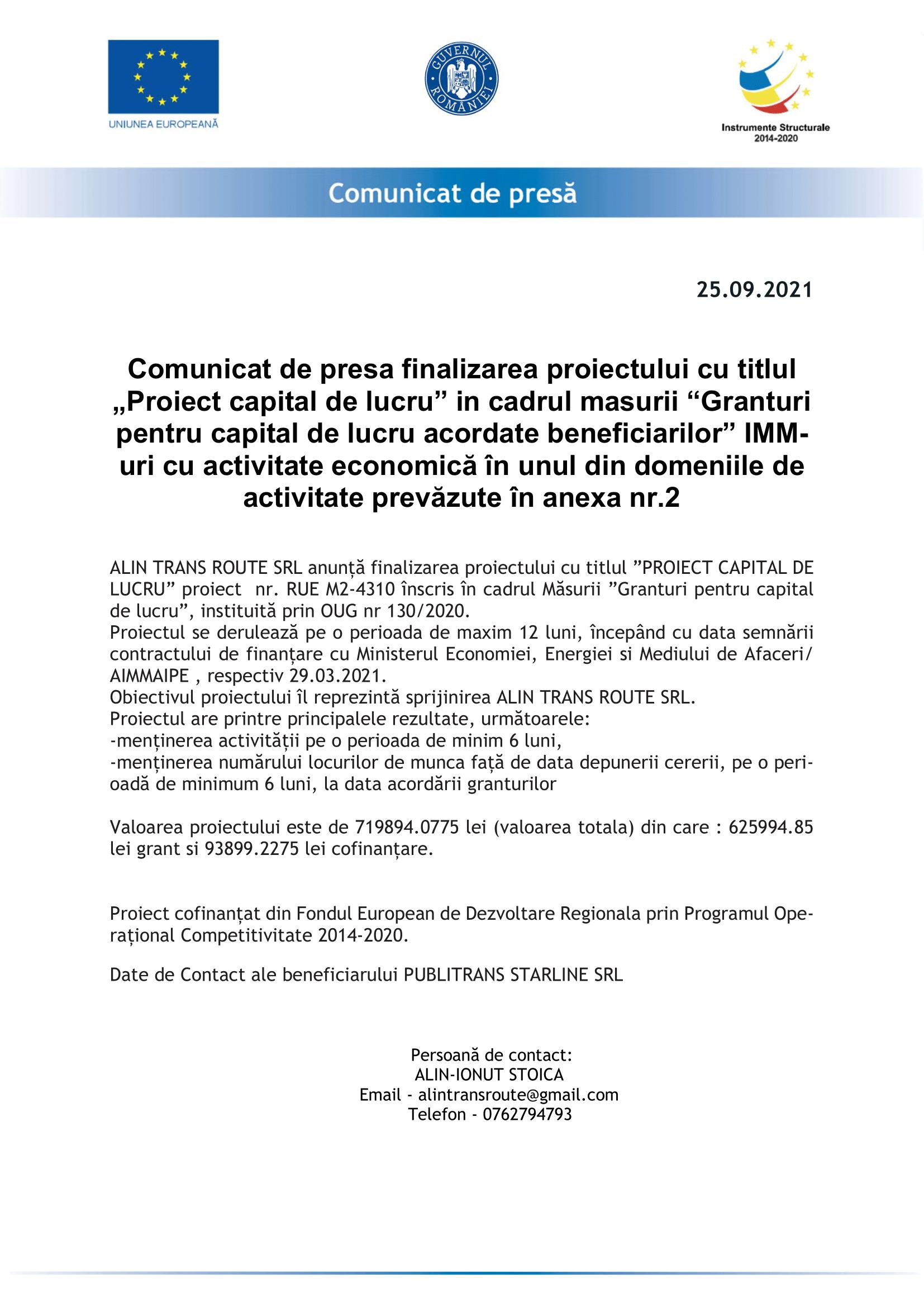 MODEL-Comunicat_de_Presa_benef-finali - FINALIZARE-ALIN TRANS ROUTE