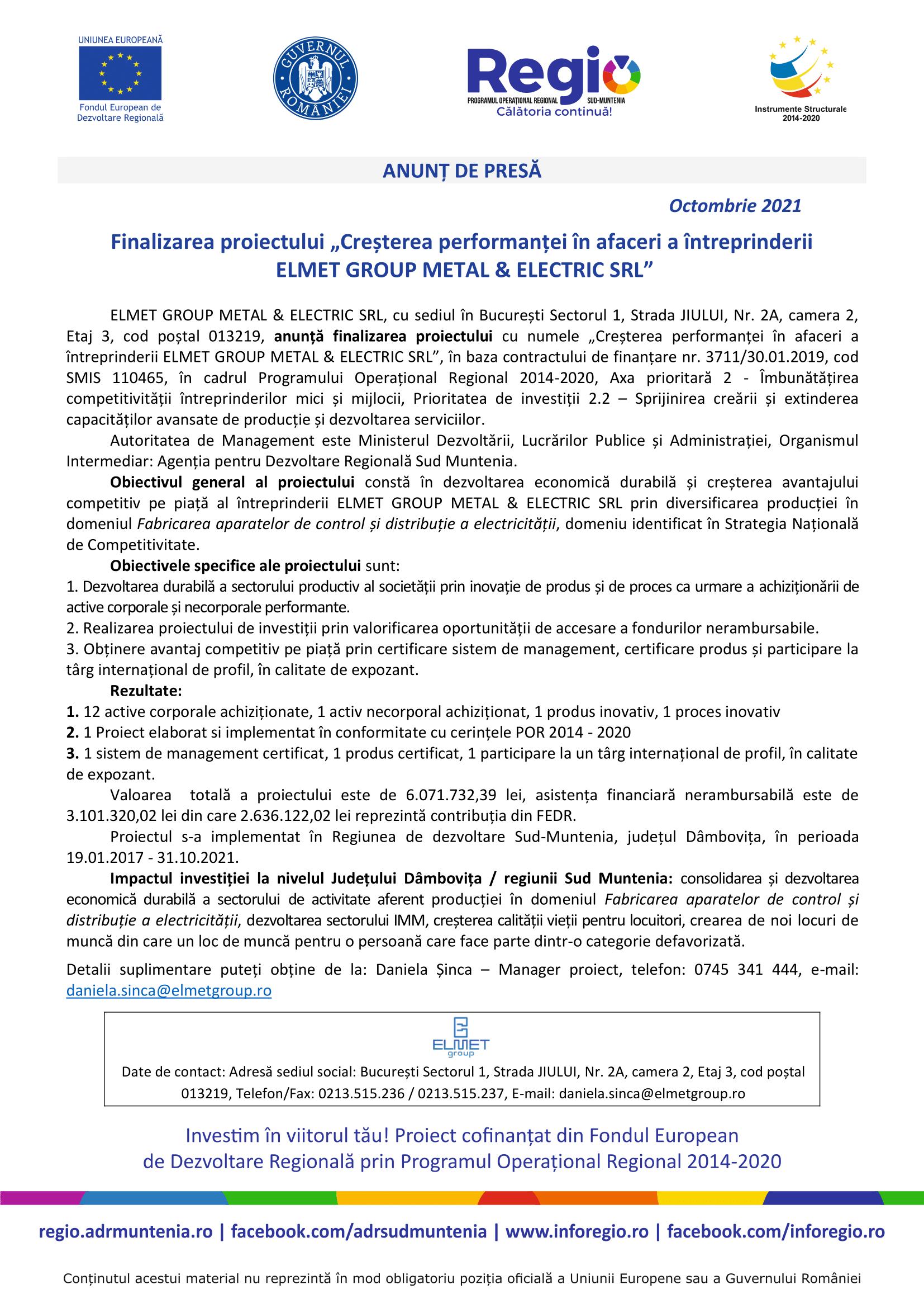 2. Machetă anunț de presă la finalizarea proiectului-1