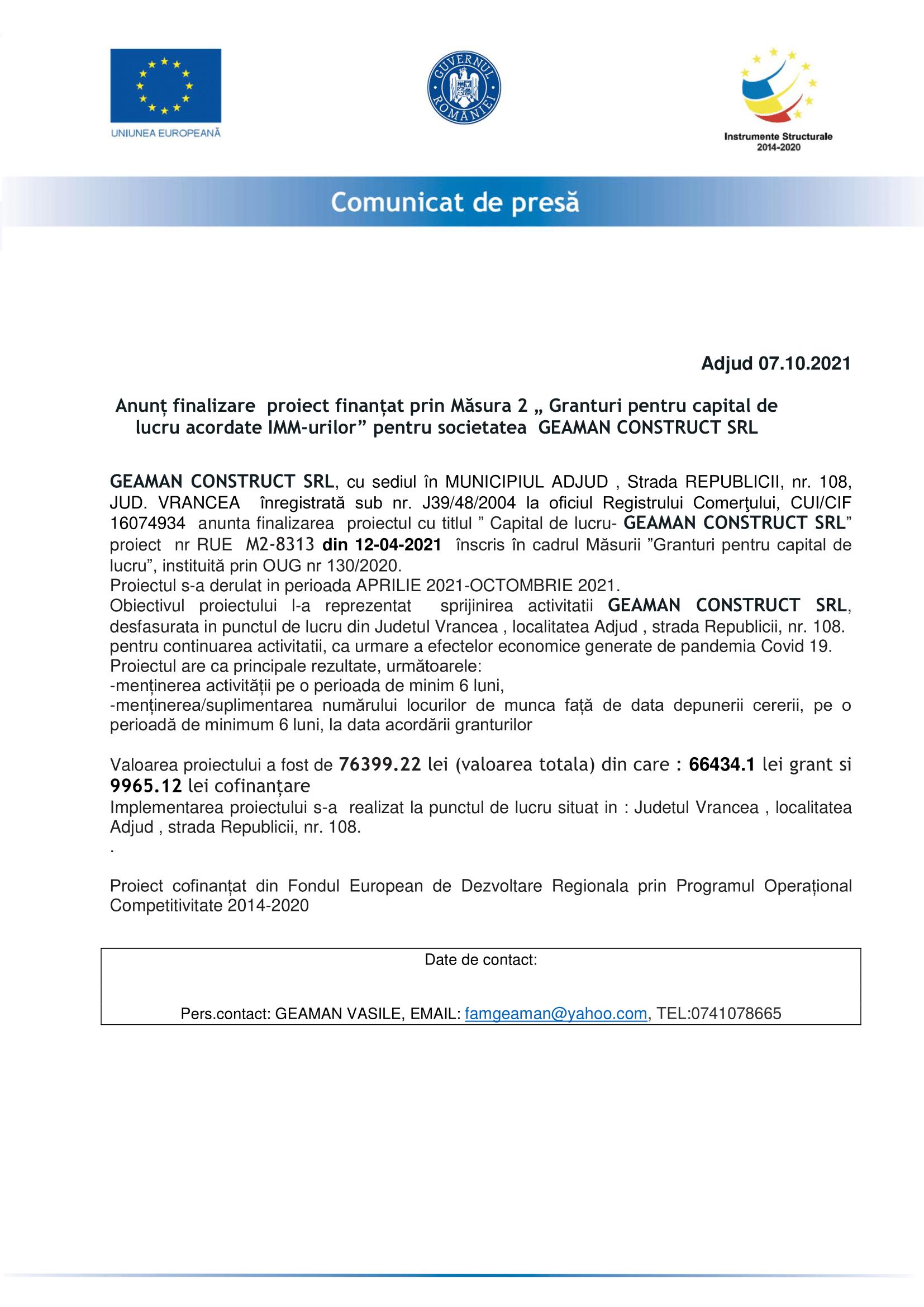 anunt finalizare proiect GEAMAN CONSTRUCT -1